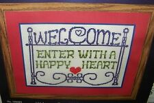 Herrschners Stamped Cross Stitch Kit Sign Welcome Enter with a Happy Heart NIP