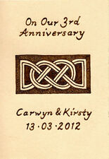 3rd Wedding Anniversary Personalised ACEO Size Leather Celtic Lovers Knot Design