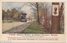 Case Steam Roller Building Country Roads Advertising Postcard