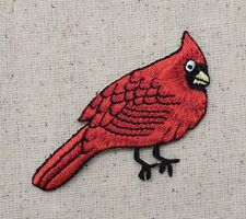 Iron On Embroidered Applique Patch Red Male Cardinal Bird Facing Right