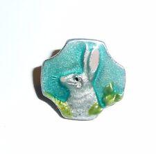 "Adorable Hand Painted Ant Repro Aqua Blue Bunny Rabbit Metal Shank Button 5/8"""