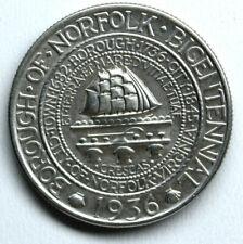 1936 COMMEMORATIVE HALF DOLLAR NORFOLK VIRGINIA BICENTENNIAL NO RESERVE 9
