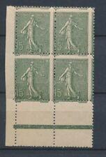 France Bloc de 4 N°130 15c vert-gris Piquage à cheval N* Signé Calves N2255