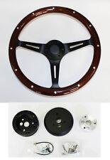 "1967 Oldsmobile Cutlass 442 Delta 15"" Dark Wood Steering Wheel on Black Spokes"