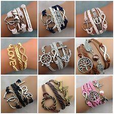 Armband, Wickelarmband, Armkette, Freundschaftsarmband,Kunstleder Armbänder NEU