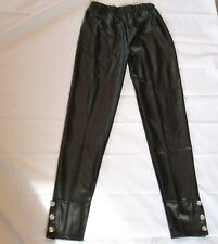 Sexy Womens Faux Leather Legging Pants L/XL Vegan Elastic Waist Black New Nice