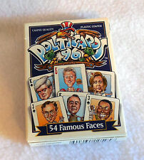 1996 POLITICARDS 54 famous political faces plastic coated playing cards EUC