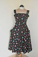 Stunning Hell Bunny Vixen 50s Pin Up Dress Black Fruit 'n Flowers Size 10 BNWOT