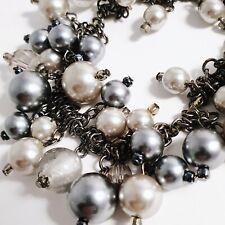 Black Gunmetal Grey & Silver Faux Pearl Beaded Bracelet Stretch Fit Classy Goth