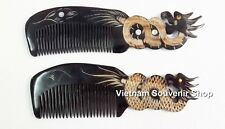 Set of 2 Horn Hair Comb -Hand carved Sculpture Carving Dragon -Handmade Gift