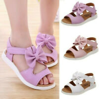 Summer Kids Girls Toddler Baby Sandals Casual Bow knot Flat Princess Shoes UK