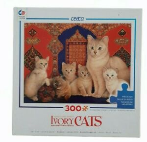 Ceaco Ivory Cats 300 piece jigsaw puzzle Oversized Pieces - tested counted 24x18