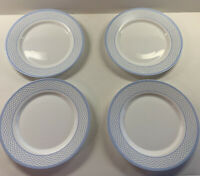 "4 Martha Stewart Everyday Dinner Plates Blue White 10-3/4"""