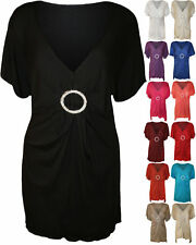 No Pattern V Neck Viscose Tops & Shirts Plus Size for Women