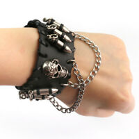 Skull & Bullet Leather Cuff Bracelet Bangle Wristband Gothic Rock Punk Biker Hot