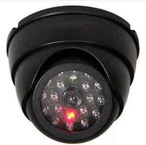 Dummy Dome Fake Security Camera CCTV One False IR LED W/ Flashing Red LED Light