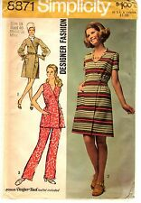 Vintage 1970s Simplicity Sewing Pattern Womens DRESS PANTSUIT 8871 Sz 18 UNCUT