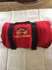 Wells Fargo Fleece Throw w/Stagecoach Embroidered Logo Red Lap Blanket