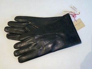 Genuine Dents leather Handsewn gloves - Cashmere lined leather - Black - Chelsea