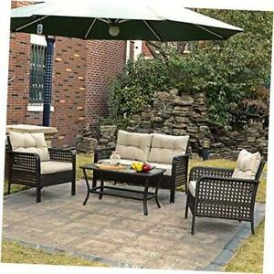4 Piece Outdoor Patio Furniture Sets, All Weather Wicker Deep Seating Outdoor