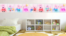 Peppa Pig Family Watercolour Wallpaper Border Self Adhesive Children Bedroom 121