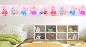 Peppa Pig Family Watercolour Wallpaper Border Self Adhesive Children Bedroom 121