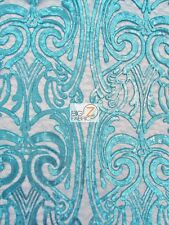 ANGEL DAMASK SEQUINS SHEER LACE FABRIC - Turquoise - PROM WEDDING GOWN DRESS