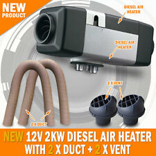 NEW 12 Volt 2KW Diesel Air Heater 2 x Vent 2 x Duct Caravan Motorhome Thermostat