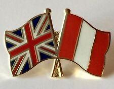 United Kingdom & Peru Friendship Flags Enamel Lapel Pin Badge