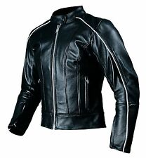 New AGVSPORT LOTUS Ladies Women's Leather Motorcycle Jacket Black CE Armour