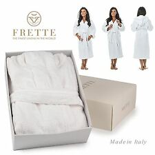 Frette Hooded Dressing Gown Bath Robe Fleece Towelling Full Length Cotton S/M