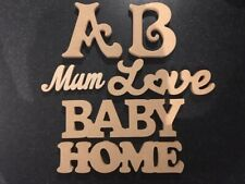 Craft Letter Wooden Bundle, A, B, Mum, Love, Baby & Home