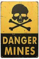 Danger Mines, Metal Tin Sign