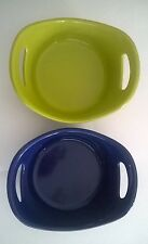 Two Rachel Ray 12 oz ounce Baking Dish Soup Bowls Handles Lime Green Blue G014