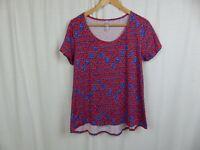 Lularoe Classic T Shirt Short Sleeve Tee Red Blue Casual Women's Size Medium