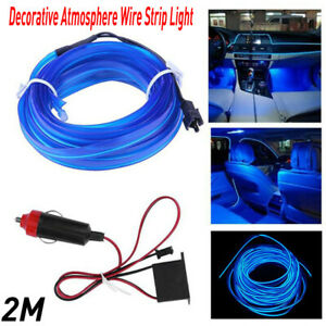 2M Blue LED Car Interior Decorative Atmosphere Wire Strip Light Accessories EOA