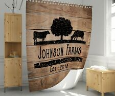 Personalized Rustic Angus Cow Farm Shower Curtain | Rustic, Farmhouse