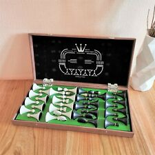 Olympic soviet chess set Russian Vintage USSR wooden plastic antique green