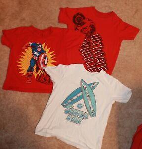 LOT OF 3 * Boys' Size 4 GRAPHIC T-SHIRTS (Children's Place & Marvel) EUC