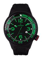 POSEIDON Herren-Armbanduhr XL Black Pro Silikon UP00260 Schwarz/grün UVP 139,- €
