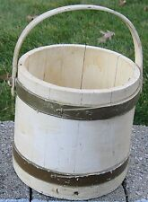 ANTIQUE CHARMING FIRKIN OLD PAINT CREAMY BUTTERY W/OLIVE GREEN WOODEN BANDS
