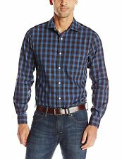 Nautica Men's Ensign Blue Plaid Engineered Button Down Shirt Small S [13841-1]