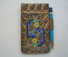 Exceptionally EXQUISITE Fine ENAMEL Silver Filigree NOTE PAD Nouveau Deco BEAUTY
