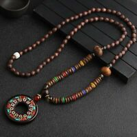 Nepal Buddhist Mala Beads Long Pendant Necklace Safety Button Ethnic Fish Unisex