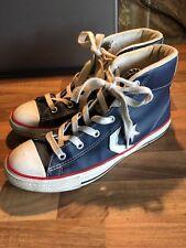 Boys Navy Leather Converse Baseball Boots