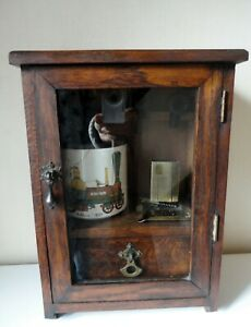 Vintage Wooden Smokers Cabinet With /Pipes/Tobacco Bowl & Accessories.