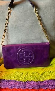 Tory Burch Reva Purple Crackled Leather Magnetic Flap Chain Clutch Shoulder Bag