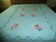 VINTAGE AQUA BLUE CHENILLE COTTON BEDSPREAD THICK PASTEL FLOWERS