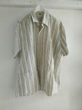 Freizeithemd Herren Größe L, gestreift Weiß-Grün Kurzarm