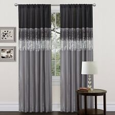 Window Curtains 84 Inch Long Panel Silk 2 Tone Gray Silver Black Dark Room S